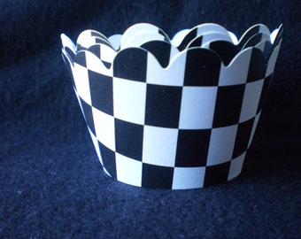 Custom Checkered Flag Cupcake Wrappers (12)