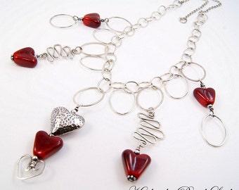Lampwork Necklace - Falling Hearts Lampwork Heart Sterling Silver Chain Necklace - KTBL