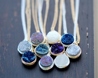 Druzy Pendant Necklace , Sterling Silver , Gold or Rose Gold , Titanium Bezel Wrapped Quartz Gemstone Fashion - NEW COLORS!