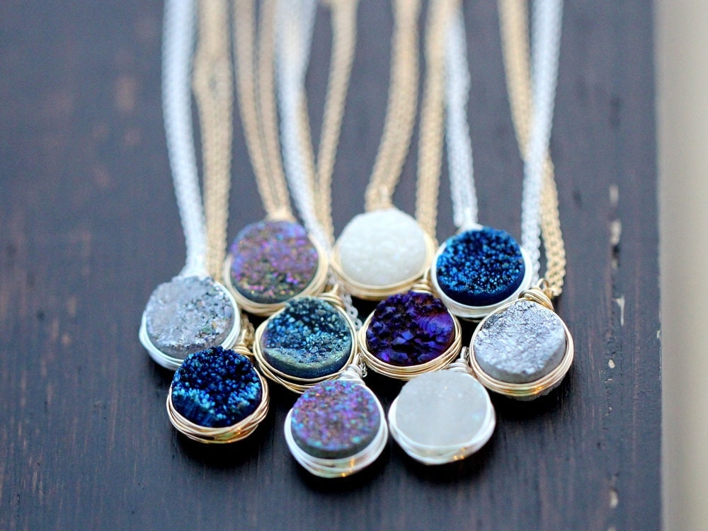 Druzy Necklace Gold Pendant Sterling Silver Or Rose Gold
