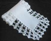 "Vintage Runner -- Hand-Crocheted Border -- Wedding White -- 44"" long"