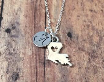 Louisiana initial necklace - Louisiana jewelry, state of Louisiana necklace, state necklace, silver Louisiana necklace, US state necklace