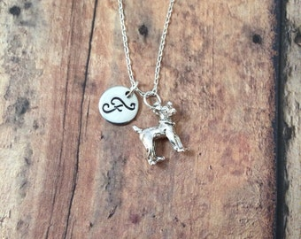 Jack Russell Terrier initial necklace - JRT jewelry, dog breed necklace, Parson Terrier necklace, silver Jack Russell necklace