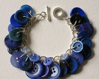 Midnight Blue Button Charm Bracelet