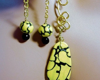 Earring and Necklace Set, Yellow and Black Jewelry, Dangle Earrings, Abstract Jewerly, Handmade Ladies Jewelry