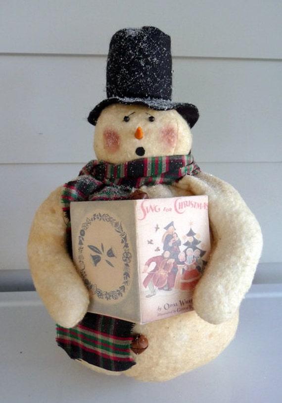 Primitive singing snowman prim Christmas decoration