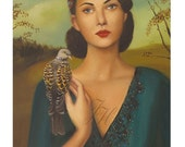 Portrait- Elspeth With Her Turtledove- Art Print