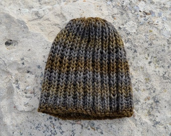 Olive & Earth Hat - Hand Knit Hat in Earthy Browns and Grey - Hand Knit Sparkle Hat,  Knit Textured Beanie. Ready to ship. Traditional Fit.