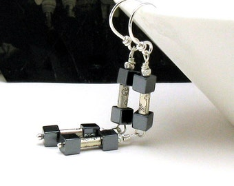 Sterling Silver and Black Hematite Modern Dangle Earrings Urban