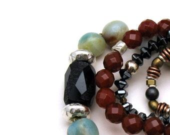 Amazonite Black Agate Sterling Unisex Minimalist Beaded  Bracelet  Neutral Unisex Under 150 Free US Shipping Gift Wrap