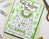 Ugly Sweater Letterpress Printer Holiday Card