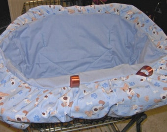 Cornflowers blue seat and ruffle with puppies.