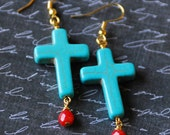 Cross Earrings, Turquoise Magnesite, Turquoise Cross Earrings, Christian Jewelry, Baptism gift Earrings, Gold Earrings, Cross Jewelry, SRAJD