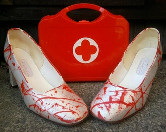 sensational SALE half price zombie shoes heels my BLOODY VALENTINE white and red blood splattered corpse bride nurse shoes eur  uk 6
