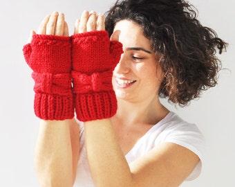 Red Bow Fingerless Knitting Gloves -  Mittens -  by Afra