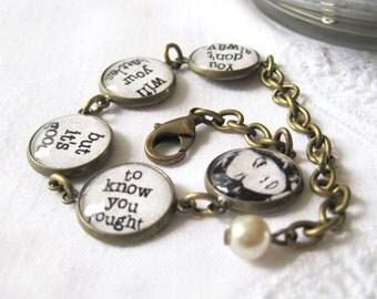 Lauren Bacall Quote Antique Brass Bracelet