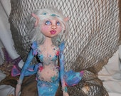 Lunette, The Sea Elf, A Cloth Art Doll by Liz Parent