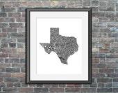 Texas typography map art ...