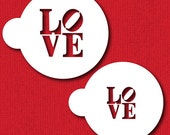 LOVE Sculpture Stencil Set for Cookies, Cakes & Cupcakes - Designer Stencils (C706)