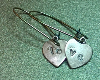 Love. Sweet Love Heart Dangle Copper and Brass Dangle Handmade Earrings