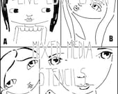 Sweet girlies mixed media stencils, choose one among four