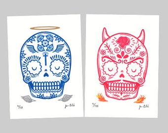Good and Evil Limited Edition Gocco Screenprint Set Day of the Dead Art
