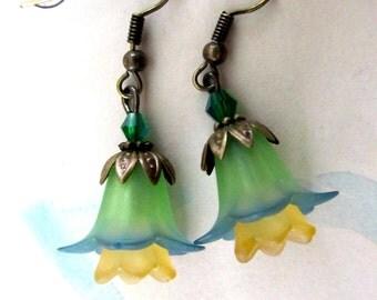 Blue Green Earrings, Victorian Jewelry, Beaded Flower Earrings, Bohemian Jewelry