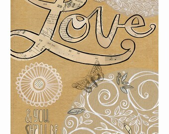 love - kraft, ivory, coffee stain, collage, neutral, nature, inspirational 8x10 GICLEE PRINT