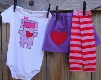 Girls Valentine's day Robot LOVE Outfit - Leg Warmer, Skirt, Shirt/Baby Bodysuit - Sizes to fit Babies, Toddlers, Children and Big Kids