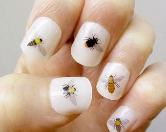 bee nail transfers - handmade illustrated nail art decals - stickers - nature / wildlife / bumblebee