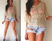 Vintage 60s 70s Crochet Flutter Sleeve Blouse (size small, medium)