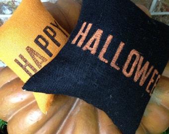 Burlap Pillow Set ~ Happy Halloween Pillow Set ~ Elegant Halloween Collection