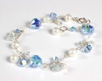 Aqua Blue Crystal Bracelet, Aqua Bridesmaid Jewelry, Silver, Bridesmaid Bracelet, Beachy Jewelry, Beach Wedding Jewelry, Something Blue