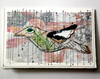Card, note card, greeting, bird, collaged card, art card
