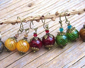 SUPER SALE lowest price ever.. clearance for new styles ..Hand blown glass swirl earrings, delicate, artisian beautiful hand blown glass