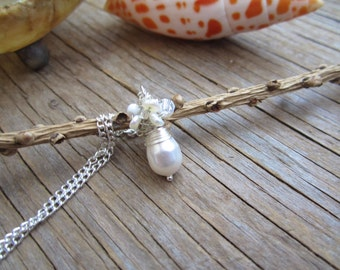 Pearl cluster wedding or bridesmaids necklace