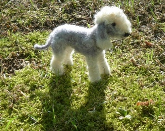 Bedlington Terrier /  Needle Felted Dog / Custom Pet Portrait / Handmade Animal Sculpture / Lifelike Memorial / Poseable