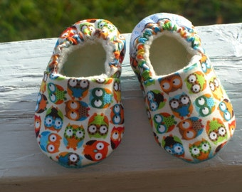 Owl, Baby Shoe, Slipper Gender, Neutral Cotton, Flannel Organic fleece