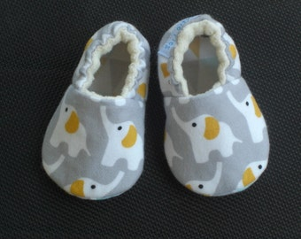 Elephant slippers, Baby shoes/slippers, Organic flannel, Eco-friendly, gray, white,aqua,  gender neutral