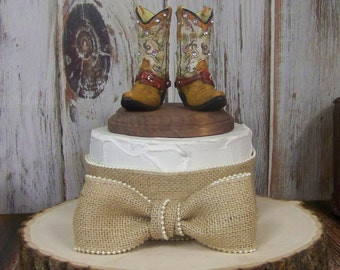 Birthday Cake Topper, Boot Cake Topper, Rustic Cake Topper, Her Western Cowboy Boots