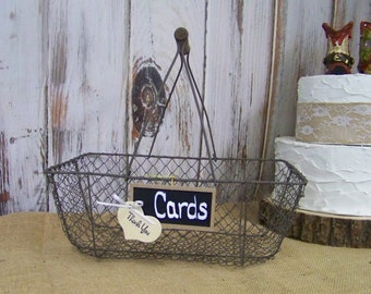 Rustic Card Box Basket with Chalkboard, Wedding Advice Basket, Program Basket, Rustic Wedding Decor,