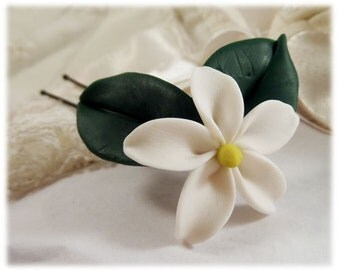 Realistic Jasmine Leaf Hair Clip Pin - Jasmine Leaf Hair Flower