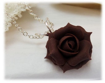 Dainty Brown Rose Necklace - Brown Rose Jewelry, Brown Flower Necklace, Chocolate Color Rose Necklace