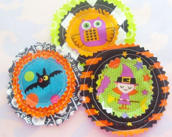 Halloween Fabric Applique Embellishments Set of Three