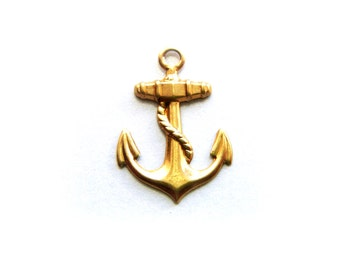 BRASS 10 - Nautical ANCHOR Brass Charms Stampings and Jewelry Findings (H)