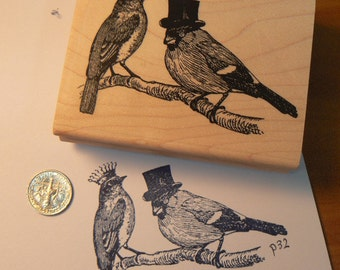 Royal birds rubber stamp bird with crown and top hat P32