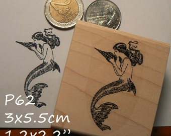 Mermaid rubber stamp P60