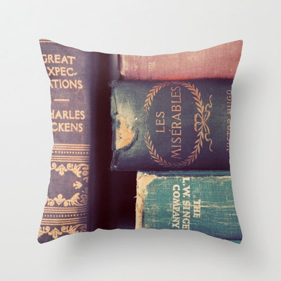 SALE SALE Photo Pillow Cover, Classic Books, Mauve, Violet, Gold, Les Miserables, Living Room, Bedroom Decor, 16x16, 18x18. 20x20