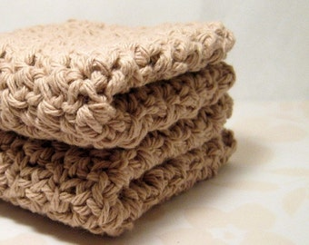 Beige Dish Cloths, Sandy Crochet Wash Cloths, Handmade Cotton Dishcloths, Eco Friendly Cleaning, Bathroom Accessories, Kitchen Accessories
