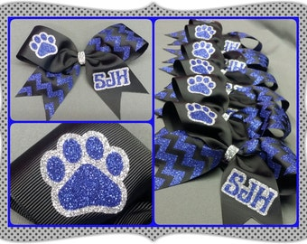 "3 "" Custom chevron CheerBow or Softball Bow with paw print and custom lettering by No Bow No Go!"